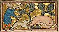 A Hunter Blowing his Horn While Attacking a Beaver - Google Art Project cropped.jpg