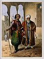 A Turkish soldier and merchant standing outdoors to smoke. C Wellcome V0019290.jpg