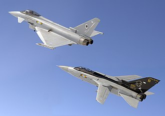 No. 11 Squadron RAF - Eurofighter Typhoon F2 of 11 Squadron leads a Tornado F3, formerly of the Squadron, in 2007