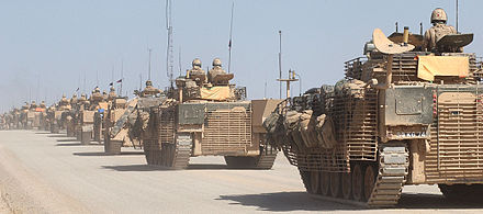 Warrior Infantry Fighting Vehicles of the Scots Guards patrolling in Helmand Province, Afghanistan, in 2008 A convoy of Warrior infantry fighting vehicles (IFVs) patrolling near Musa Qala, Afghanistan. MOD 45149486.jpg
