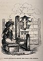 A man confined to the stocks with his legs is watched by a h Wellcome V0041681.jpg