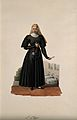 A nun holding a medicine spoon with her hospital behind her. Wellcome V0015188EL.jpg