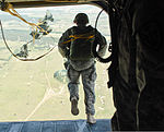 A paratrooper assigned to Charlie Company, 2nd Squadron, 38th Cavalry Regiment, 504th Battlefield Surveillance Brigade follows other Soldiers out of a CH-47 Chinook helicopter during a static line jump as 130619-A-ZZ999-203.jpg