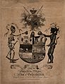 A skeleton and a devil flank a coat of arms. Etching, 1807. Wellcome V0042192.jpg