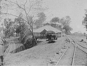 Eastern Bengal Railway - A switchback station loop on the East Bengal Railway, 1895.  Photo by William Henry Jackson.