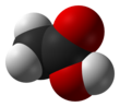 Spacefill model o acetic acid
