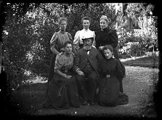 John Acland (politician) - Standing from left: Lucy, Harriet and Emily; sitting: Bessie, JBA and Rosa (1890)