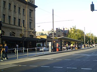 Glenelg tram - Adelaide railway station tram stop is typical of stops on the city centre extension