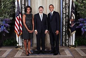 János Áder - János Áder with U.S. President Barack Obama and First Lady Michelle Obama in New York City, 2012 (UN 67th General Assembly)