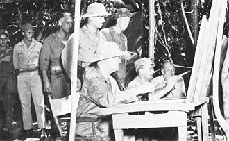 Robert S. Beightler - Beightler, seated in the center, in Bougainville in 1943