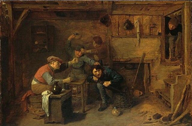 La pelea de los jugadores de cartas. Pintura por Adriaen Brouwer -  Alte Pinakothek