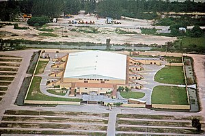 Hollywood Sportatorium - Aerial view of the Sportatorium looking west in the 1980s