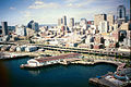 Aerial photograph of Downtown Seattle from Elliott Bay, 2001.jpg