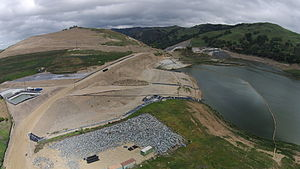 Calaveras Reservoir - Aerial view of Calaveras Reservoir showing the reconstruction of the dam wall