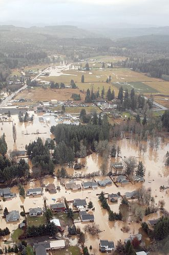 Great Coastal Gale of 2007 - An aerial view of the flood-stricken town of Vernonia, Oregon, Dec. 4, 2007