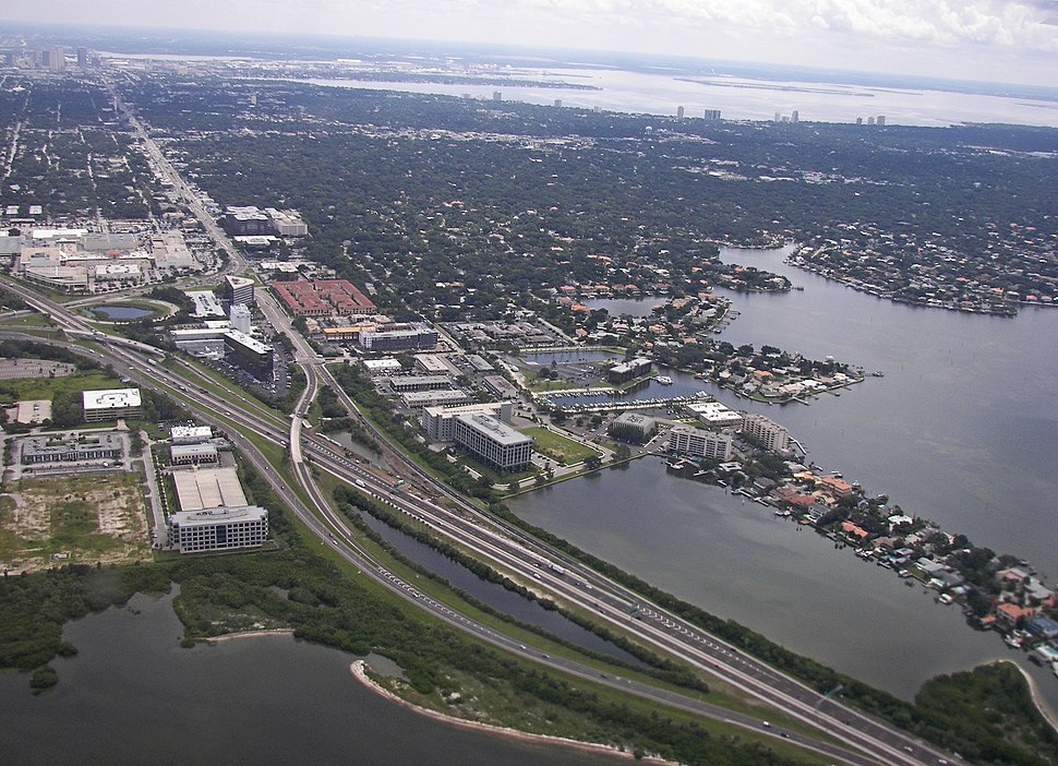 Aerial view of west Tampa, Florida
