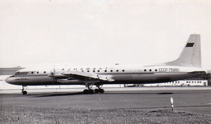 Aeroflot accidents and incidents in the 1960s - An Ilyushin Il-18V, similar to the one involved in the deadliest accident the carrier experienced during the decade, is seen here at Glasgow Prestwick Airport in the late 1960s.