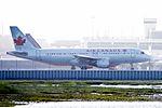 Air Canada Airbus A-320 C-FTJR ready to take off, SFO (26675404460).jpg