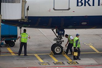 Wheel chock - Chocks being fitted to a British Airways Airbus A321.