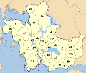 Aitoloakarnania municipalities numbered.svg