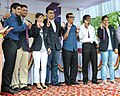 Ajay Maken with the Medal Winners of London Olympics 2012, at the felicitation function, organised by the Ministry of Youth Affairs & Sports, at Major Dhyan Chand National Stadium, in New Delhi on August 16, 2012.jpg