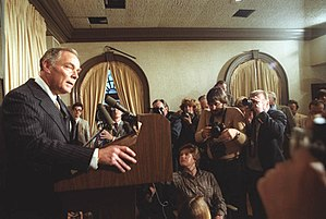Attempted assassination of Ronald Reagan - Secretary of State Alexander Haig speaks to the press about the shooting.