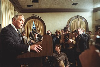 Alexander Haig - Haig speaks to the press after the attempted assassination on President Ronald Reagan