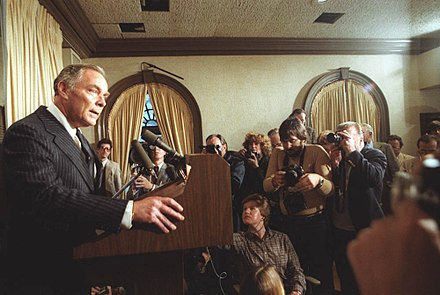 Haig speaks to the press after the attempted assassination on President Ronald Reagan Al Haig speaks to press 1981.jpg