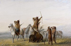 "Coup de grâce - 19th century painting of American Indian hunters wound a buffalo, and engage in a victory shout before administering their ""coup de grâce"" to the animal"