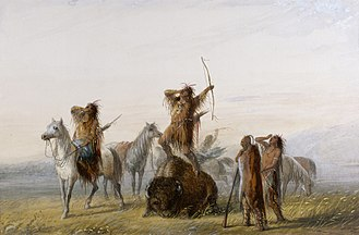 "Coup de grâce - 19th century painting of American Indian hunters gathering around a mortally wounded buffalo, and engaging in a victory shout before administering their ""coup de grâce"" to the animal."