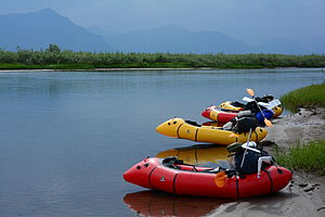 Packraft - Four Alpacka packrafts on the shore of the Anaktuvuk River, in the North Slope region of Alaska