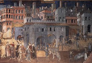 Gloria (opera) - Siena in the 14th century depicted by Ambrogio Lorenzetti
