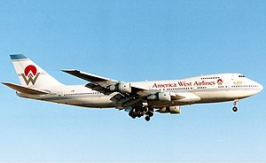 America West Airlines - Boeing 747-200 at Sky Harbor Airport in 1991