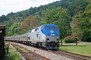Afton, Virginia - Amtrak's Cardinal passes through Afton in 2009. No trains stop in Afton.