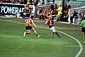 An Essendon player tries to evade his opposition.jpg
