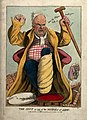 An obese gouty man exclaiming angrily. Coloured etching by N Wellcome V0010860.jpg