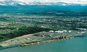 Aerial view of the Port of Anchorage, Alaska, USA.