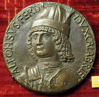 Alfonso II of Naples - Medal of Alfonso as Duke of Calabria by Adriano Fiorentino, 1481