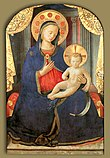 A traditional depiction of Maryby Fra Angelico wearing blue clothes