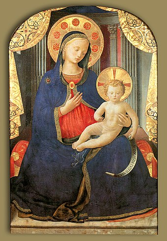 Madonna of humility by Fra Angelico, c. 1430. A traditional depiction of Mary wearing blue clothes. Angelico, madonna col bambino, pinacoteca sabauda.jpg