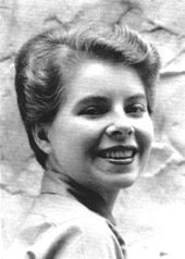 Ann Bannon in 1955, black and white headshot