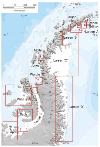 Larsen Ice Shelf - Larsen Ice Shelves A, B, C, and D
