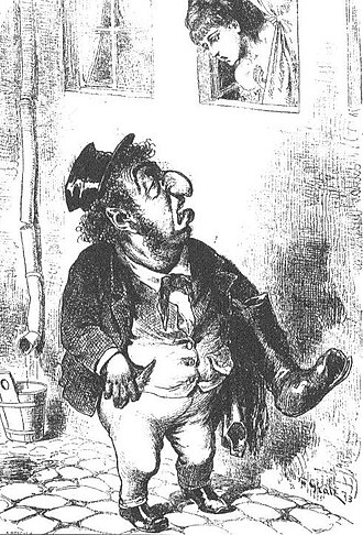 Stereotypes of Jews - An 1873 caricature depicting the stereotypical physical features of a Jewish businessman