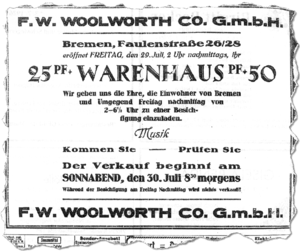 Anzeige Woolworth 1927-7-28