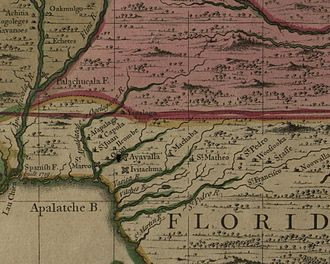 Apalachee Province - Map detail showing northwestern Florida, including the region of the Spanish Apalachee Province. This area was the scene of the 1704 Apalachee massacre, but does not accurately represent the location of all of the missions affected.