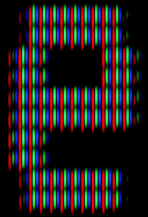 Aperture grille - Aperture-grille-based CRT in close-up, showing the letter e from a teletext page