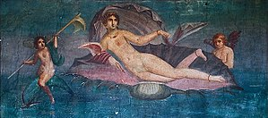 Venus (mythology) - Venus on seashell, from the Casa di Venus, Pompeii. Before AD 79.
