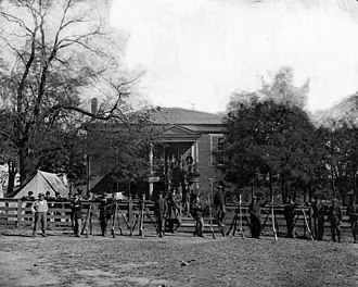 "Old Appomattox Court House - Federal soldiers at old ""court house"" in April 1865"
