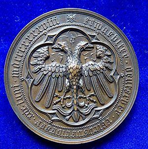 Archduke John of Austria - Election of Erzherzog Johann von Österreich 1848 as Imperial Regent (Reichsverweser) by the Frankfurt Parliament. Medal by Karl Radnitzky, reverse, showing the German double-headed Imperial Eagle.