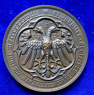 Archduke John of Austria - Election of Erzherzog Johann von Österreich 1848 as Imperial Regent (Reichsverweser) by the Frankfurt Parliament. Medal by Karl Radnitzky, reverse, showing the German double-headed Imperial Eagle.